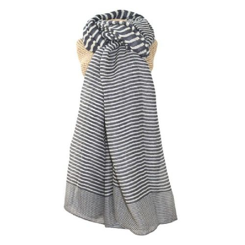 Lua Designs Stripe Print Beautiful Soft Scarf in Grey and White